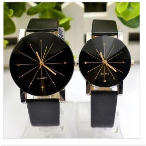 Dual Couple Wrist Watch PU Leather Wrist Watch Band (Black)