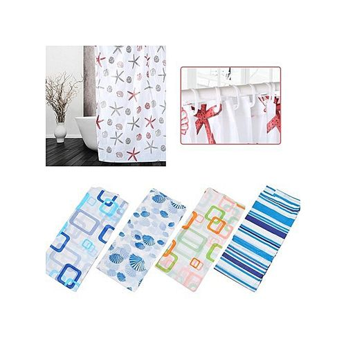 Shower Curtain With Hooks 3 Pack