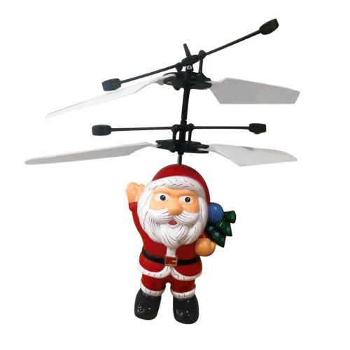 FashionieStore Electric Infrared Sensor Flying Ball Father Christmas Helicopter LED Light Toy