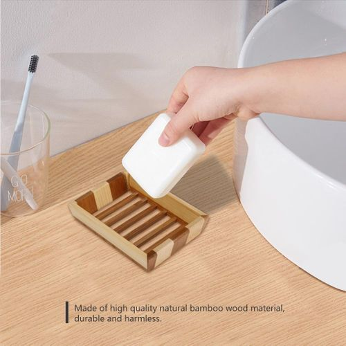 Natural Bamboo Wood Bathroom Shower Soap Tray Dish Storage Holder Plate Box Container Bathroom Soap Soap Box