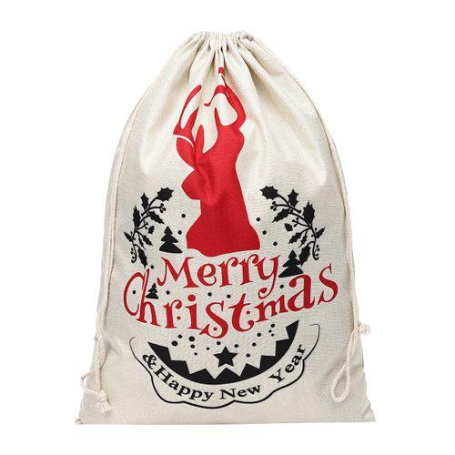 Christmas Santa Cotton Sack Xmas Gifts Sack Stocking Storage Linen Bag
