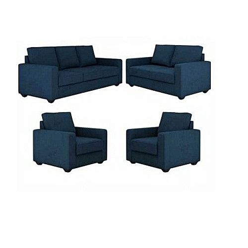 SUPER BLUE 7 Seater Sofa.- Blue with A FREE OTTOMAN' (Delivery To Lagos Only)