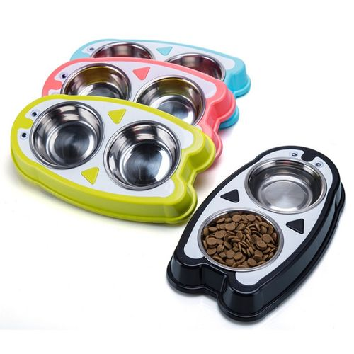 Double Stainless Steel Feeding Bowls Food Water Feeder Bowl Dish With No Spill Feeding Tray