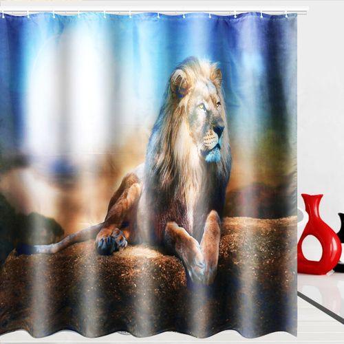 4Pcs Set Bathroom Non-Slip Rug + Toilet Lid Cover + Bath Mat + Shower Curtain UK