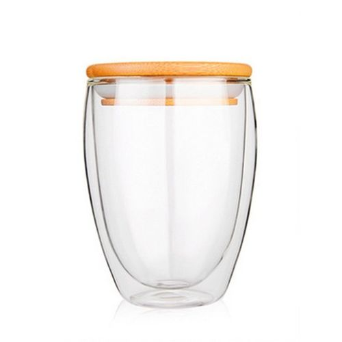 UJ Double Layer Wall Clear Glass Tea Cup + Bamboo Lid Set Coffee Milk Mug-clear