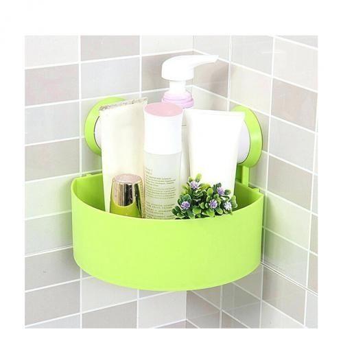 Plastic Triangular Bathroom Shelf Wall Hanging Storage Rack - Green