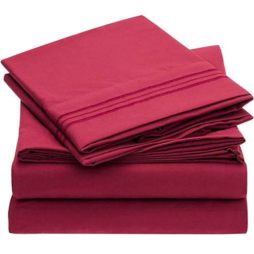 Bed Supplies Printing Set Washable Quilt Cover Bed Sheet Pillow Cases Kit Wine Red