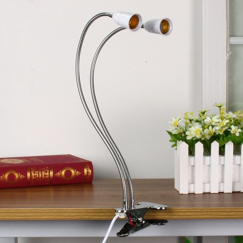 E27 LED Grow Light Dual Head Clip On Flexible Bulb Lamp Holder Socket W/ Switch
