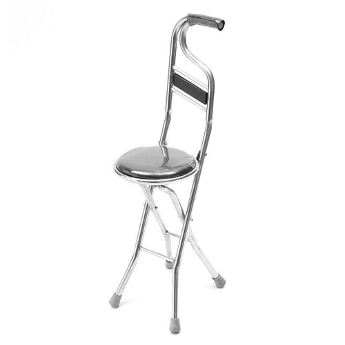Folding Portable Walking Stick Chair Seat Stool Travel Cane Stainless Steel