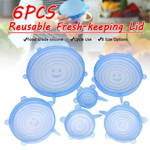 6Pcs Food Cover Fresh Keeping Sealing Stretch Lid Container Silicone