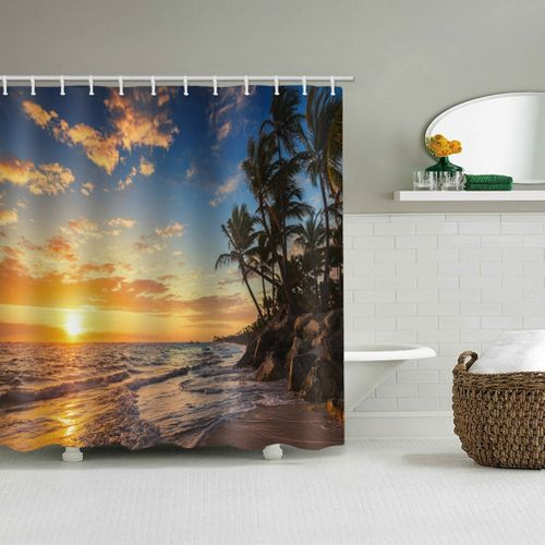 Bathroom Shower Curtain With Hanging Hooks Beach Sunset Scenery Shower Curtains Polyester Canvas Bathroom Curtain Durable Bath Curtain For Bathroom And Hotel