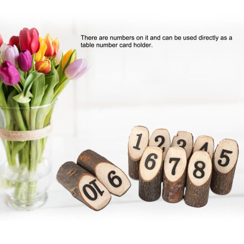 2 Types 10Pcs Stump Shape Place Card Holder Stand Number Table Clip Card Holder Party Direction Signs