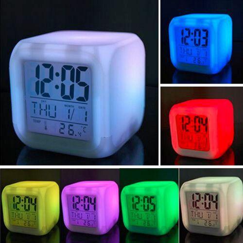 New 7 Colour Changing Digital Alarm Clock Snooze Desktop Th