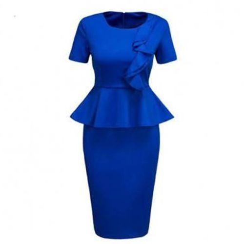 Side Frill Detail Peplum Dress - Blue