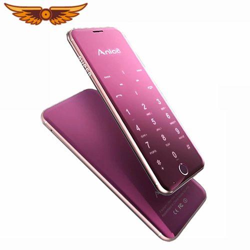 Anica A16 1.63 Inch Mini Card Phone 3.3MM Ultra Thin Dual SIM Bluetooth MP3 Player Cellphone - Purple