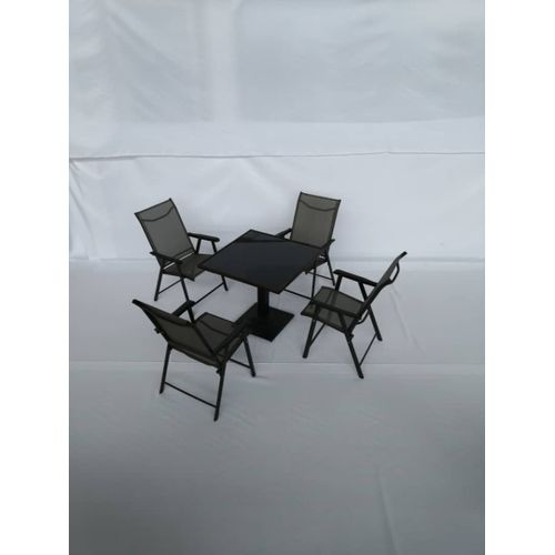 Collapsible Iron Frame Chair & Textile Covering Set With Glass Top Table