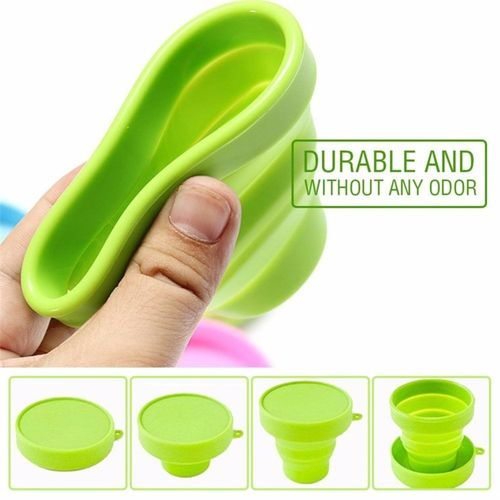 Outdoor Silicone Collapsible Travel Cup Portable Foldable Mug (Green)