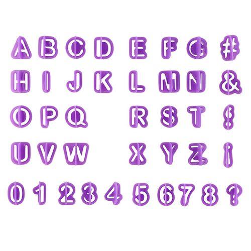 40Pcs Alphabet Number Letter Fondant Cake Cookie Cutter Pan Mold Biscuit Purple