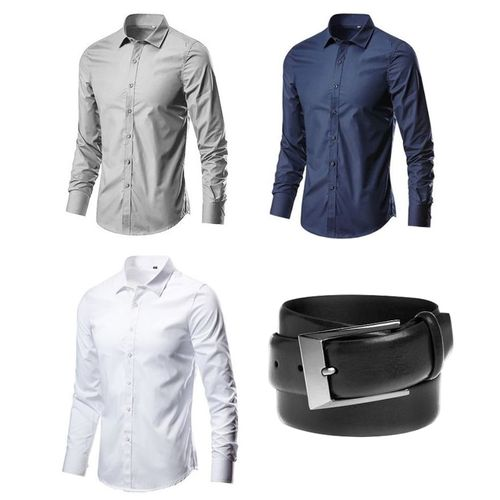 Pocket-size Three-in-One Smart Plain Shirts With Free Belt.
