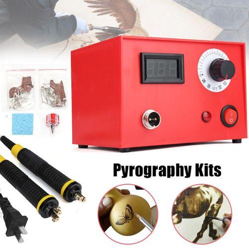 50W Multifunction Pyrography Machine Gourd Wood Burning 2 Pen Craft Tool Sets