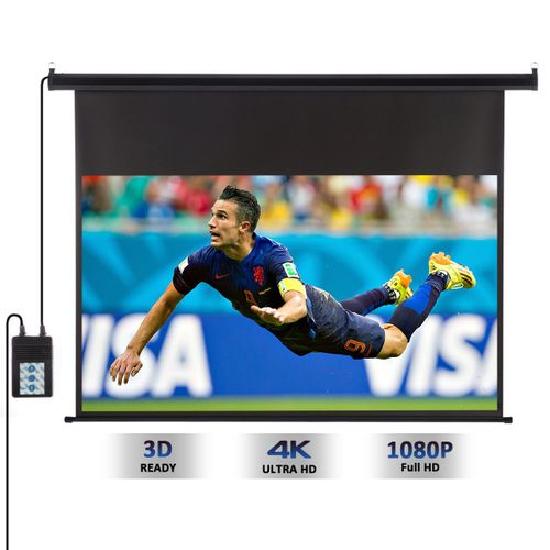 120-inch 16:9 1.2 Gain Wall Ceiling Electric Motorized HD Projector Screen With Remote Control Up And Down For Home And Office - Black
