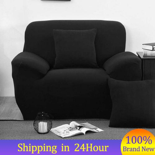 (1 Seater) High Quality Sofa Cover Solid Color Sofa Slipcover Stretch Elastic Slip Resistant Couch Slipcover