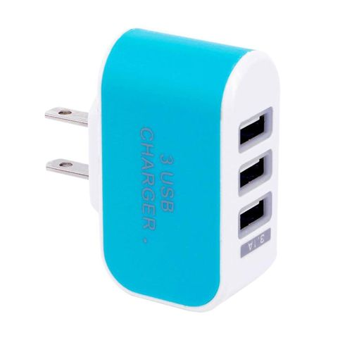 Candy Color 3USB Charger Travel Wall Adapter Power Supply