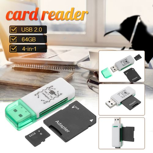 4-in-1 USB 2.0 Memory Card Reader Multi-port Adapter For SD SDHC TF Card 64GB