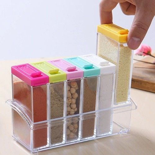 6 Pieces Seasoning And Spice Box Storage Rack, Multicolor