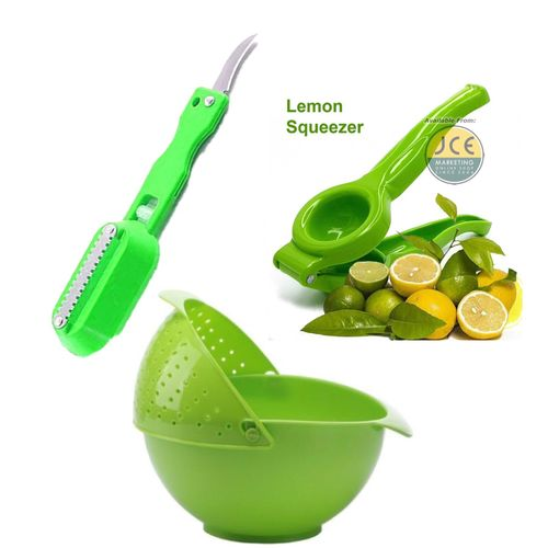 Rinse/Strainer Bowl+Lemon/Lime Squeezer+Killing Fish Knife