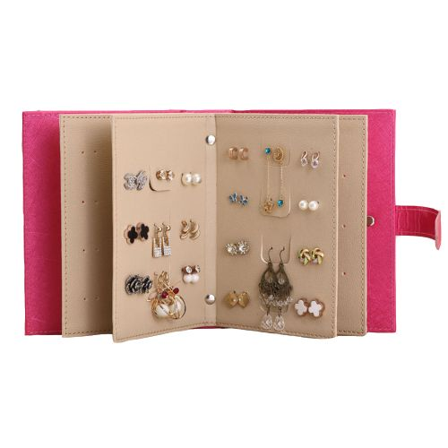 Earrings Organizer Book - 48 Pairs Portable Earrings Book Jewelry Display Organizer Ear Studs Storage Book (Rose Red)