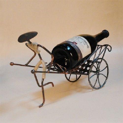 Creative Iron Pull Carts Shape Wine Rack