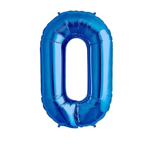 Number 0 Birthday Ballons - Blue