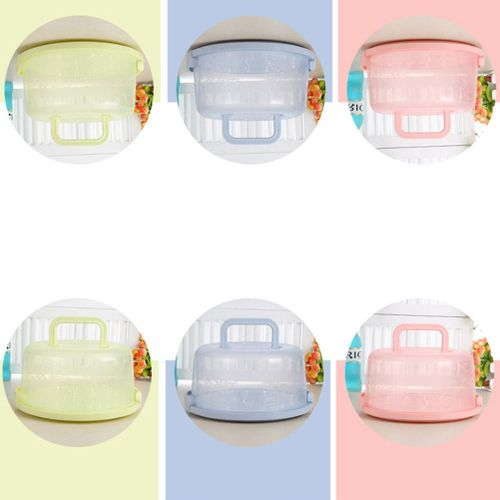 Plastic Washable Reusable Round Box Case With Handle For Storage Cake Fruit