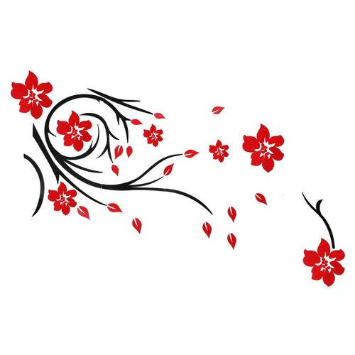 3D Beautiful Flower Mirror Wall Sticker Decals Art Home Room Arcylic Mural Decor Red
