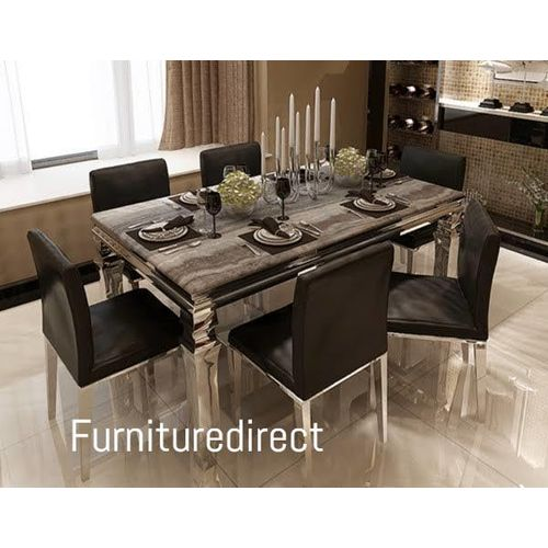 Marble Gillian Dinning Set Furniture + 6 Dining Chairs