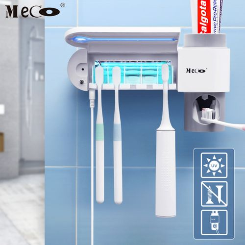 MECO 5 UV Light Toothbrush Sterilizer Holder Cleaner & Auto Toothpaste Dispenser