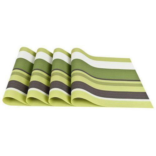 4Pcs Set Stripe Placemats PVC Bar Plate Table Desk Mat Kitchen Hot Pads 30*45cm