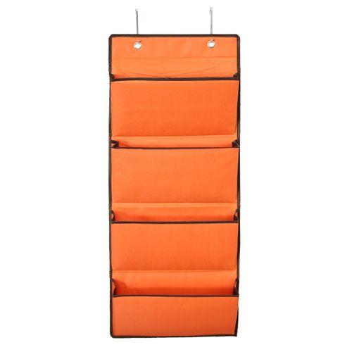 4 Tier Oxford 600D Wall Door Hanging Organiser Storage Rack Bag Clothes Wardobe Orange