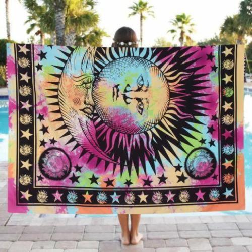 201648502476 020 India Bohemian Hippie Tapestry Beach Throw Roundie Mandala Towel Yoga Mat Square
