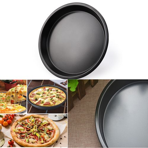 Lightning 7inches Useful Round Deep Dish Pizza Pan Non-stick Pie Tray Baking Kitchen Tools-Black