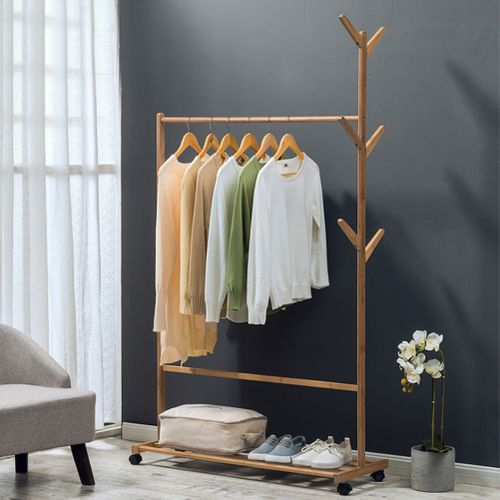 60/80/100cm Bamboo Bedroom Clothes Storage Shelf