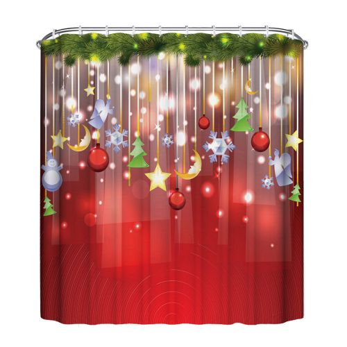 Hiamok_Dtrestocy Christmas Waterproof Polyester Bathroom Shower Curtain Decor With Hooks New F