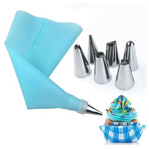 Bake Cake Tool 8 Piece Stainless Steel Decorative Nozzle EVA Mounting Bag