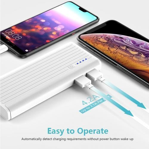 H15 12,000mAh Portable Power Bank With Dual Port - White