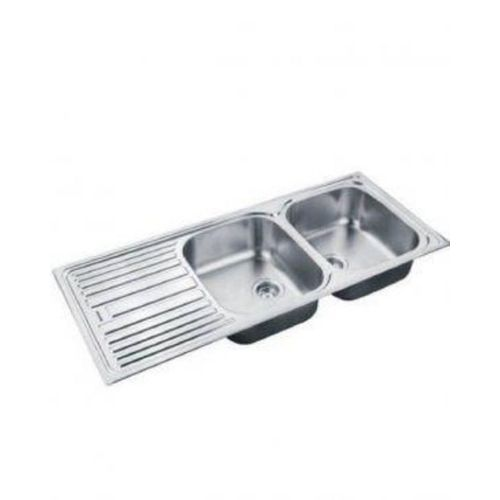 Double Bowl Sink With Single Tray - Silver (Delivery Within Lagos Only)