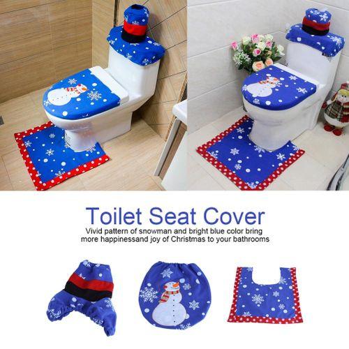 【clearance Sale+ready Stock】3Pcs Lovely Christmas Snowman Toilet Seat Cover Rug Set Home Bathroom Festive Decoration
