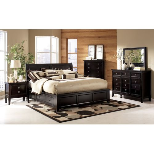 TED FULL BEDROOM SET OF 6 BY 7 BED, MIRROR DRESSER, BEDSIDE & CONSOLE TABLE