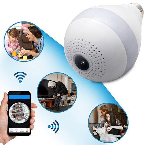Wireless IP 360 Degree Camera Bulb FishEye Smart CCTV 3D
