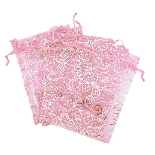 100pcs Organza Drawstring Gift Bags, Pouches Jewelry Party Wedding Favor Bags, Pink